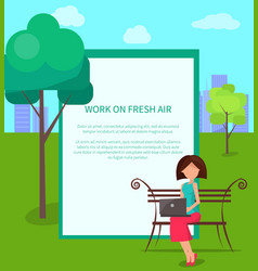 Work on fresh air banner woman with laptop vector