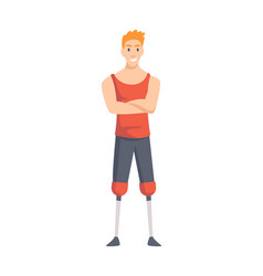 Young guy with prosthetic both legs man vector