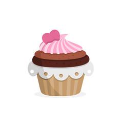 Yummy strawberry cupcake sweet food vector