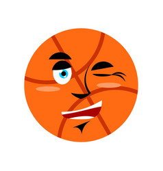 basketball winking emoji ball happy emotion vector image vector image