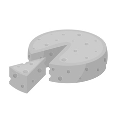 French hard cheese icon in monochrome style vector