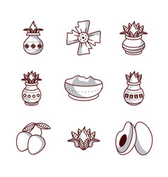 happy ugadi icons vector image