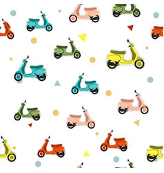 seamless pattern with scooter vector image vector image