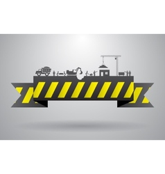 Yellow construction banner for infographics title vector