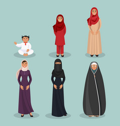 arabic women generations from child to elderly vector image vector image