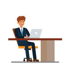 businessman working at desk at notebook cartoon vector image