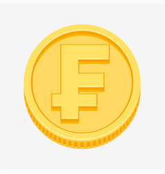 franc currency symbol on gold coin vector image vector image