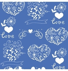 Hiqih quality pattern with hearts flowers vector image vector image