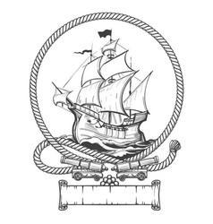 sailing ship engraving vector image vector image