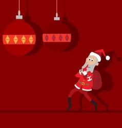 Santa claus goes with a bag abstraction vector