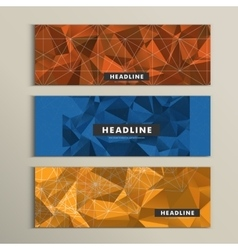 Set of 3 banners with contemporary style polygonal vector image vector image