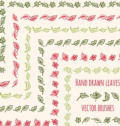hand drawn leaves brushes vector image vector image
