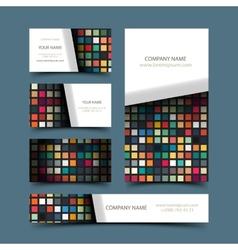 Mosaic business card set vector image