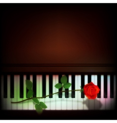 abstract grunge dark background with rose on piano vector image vector image