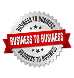 Business to business round isolated silver badge vector