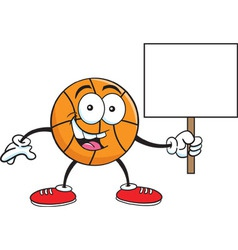 Cartoon basketball holding a sign vector image vector image