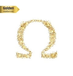 Gold glitter icon of omega isolated on vector image vector image