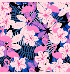 pink leaves and flamingo pattern vector image