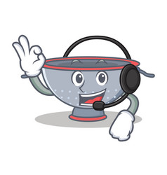 With headphone colander utensil character cartoon vector