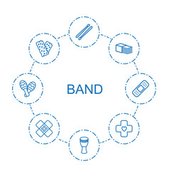 8 band icons vector