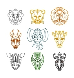 African Animals Heads Masks Line Icons vector