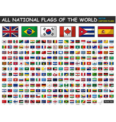 All national flags world cartoon style vector