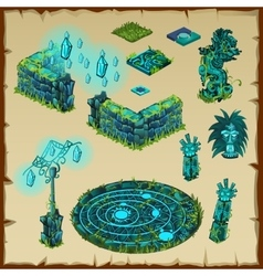 Ancient location Maya glow green stone and glass vector
