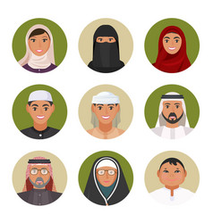 Arabic men and women all ages portraits in vector