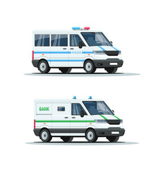 Armored truck semi flat rgb color set vector