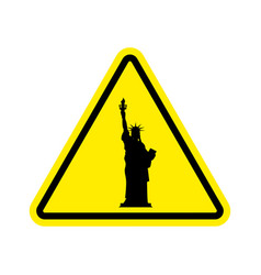 Attention america statue liberty on yellow vector