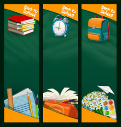 back to school chalkboard banners education vector image