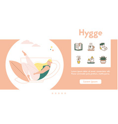 banner hygge lifestyle color linear vector image