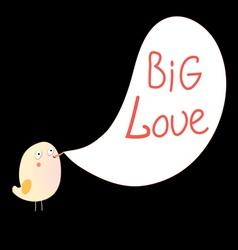 Bird and inscription love vector