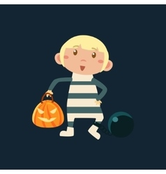 Boy In Convict Irons Haloween Disguise vector