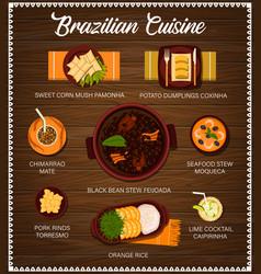 Brazilian cuisine brazil meals cartoon menu vector