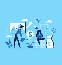 business people work to increase income revenue vector image