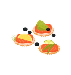canape with salmon cheese lettuce and olives vector image