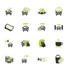 Car wash service icon set vector