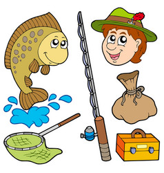 cartoon fisherman collection vector image