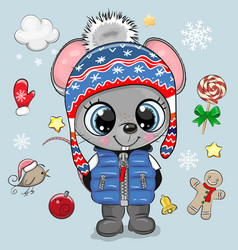 cartoon mouse boy in a knitted hat vector image