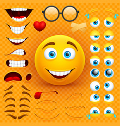 Cartoon yellow 3d smiley face character vector