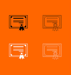 Certificate black and white set icon vector