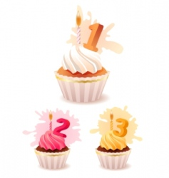 collection of festive birthday cakes vector image