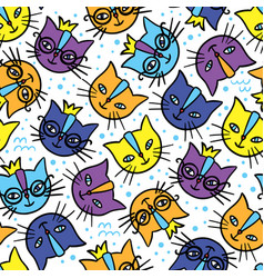 colorful cats cartoon seamless pattern vector image
