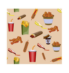 concept on street food hot-dogs pattern with vector image
