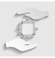 CPU Microprocesso Paper style icon vector image vector image