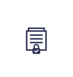 document protection icon on white vector image