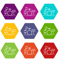 drum kit icon set color hexahedron vector image