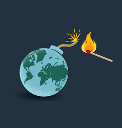 Earth like bomb with match vector