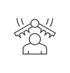 Emotional stress line outline icon vector